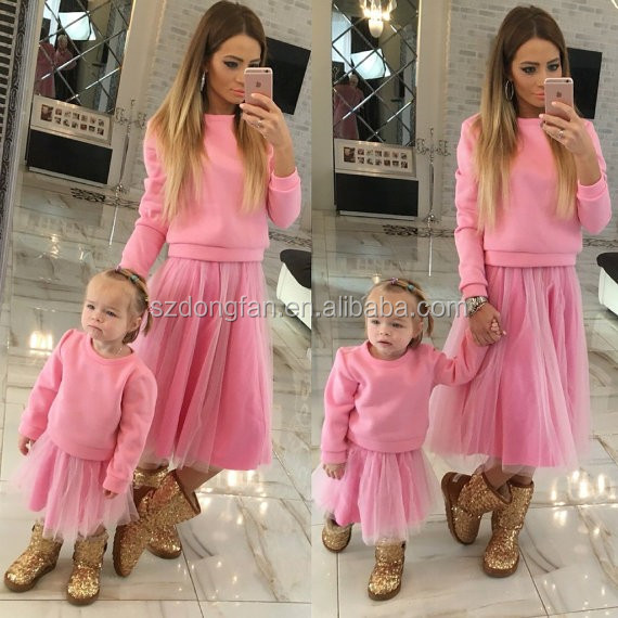Stylish Mommy And Me Skirts Matching Pullover Sweatshirt Mommy And Baby Matching Tu Tu Dress For Girl