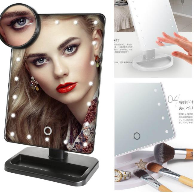 LED Lighted Travel Makeup Mirror/Desktop Folding Mirror With 10X Magnifying