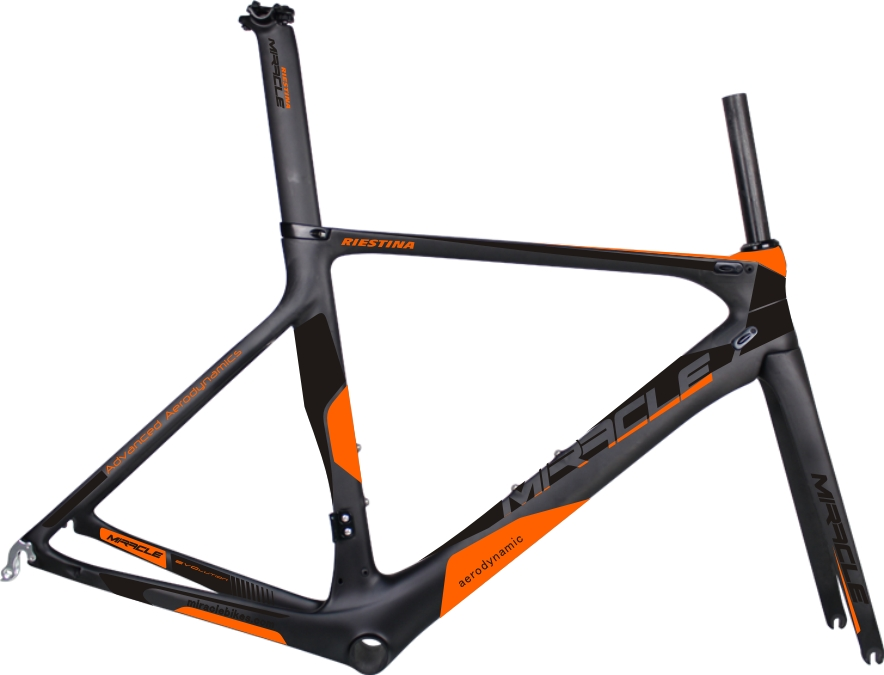 2017 Miracle bright orange AERO light Carbon Road Bike Frame toray t700 Full Carbon fiber Road racing Bicycle