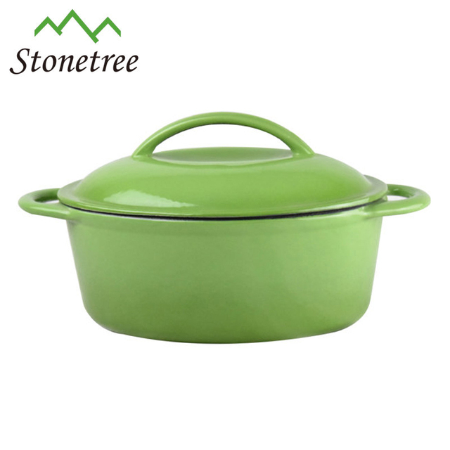 New Wholesale Green Enamel Pot Cast Iron Casserole With Knobs