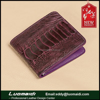 Fashion wholesale woman trendy purse,exotic ostrich leather lady purse ,latest design ladies purse