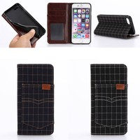 Hot Selling Fancy Plaid Leather Wallet Case for iphone 7 with Locker