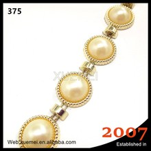 new factory wholesale pearl applique flatback decorative plastic rhinestone chain trimming