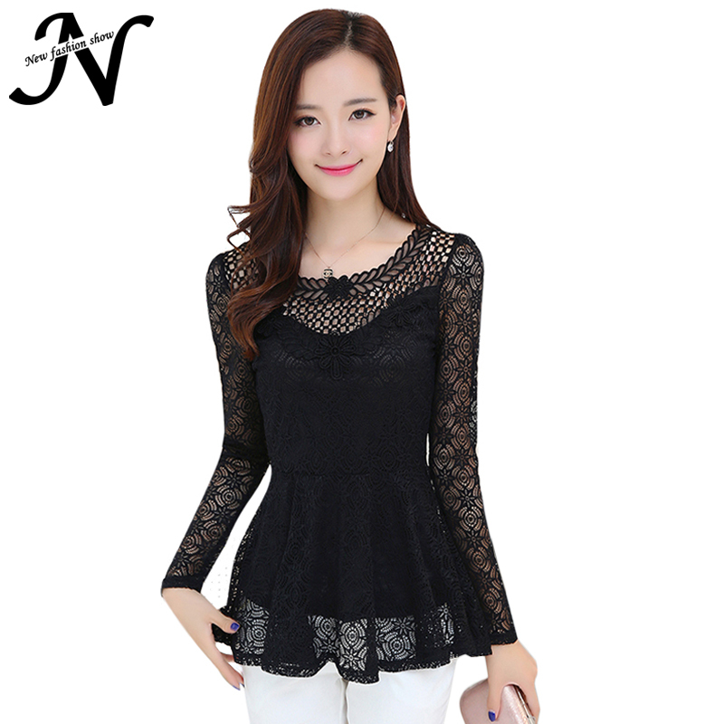 Black White Lace Blouse Long Sleeve Plus Size Womens Tops Fashion 2015 Autumn Ruffles Swing Blouse Womens-Fashion-Clothing 3035
