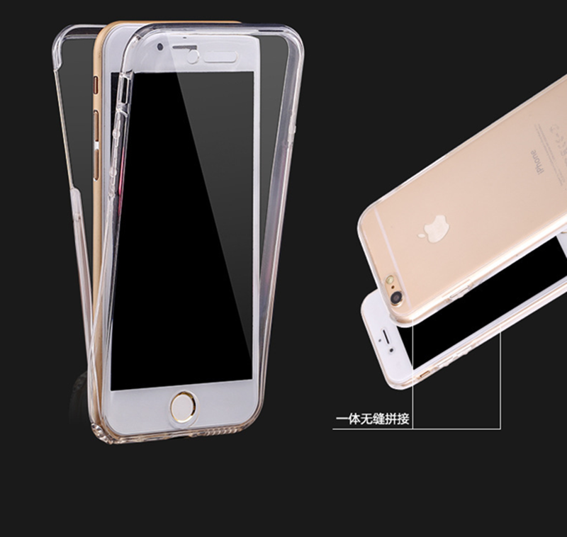 Hot Selling Soft Transparent 360 Front+Back Case for iPhone 6 6S,for Apple iPhone 6 Gel Rubber Case