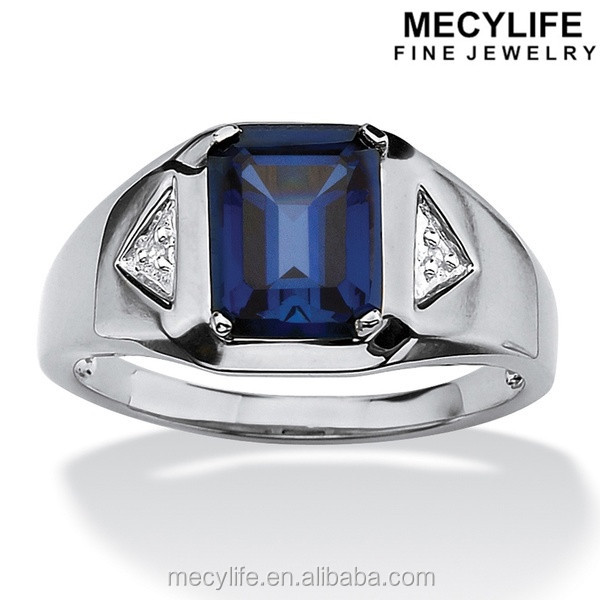 MECYLIFE 2016 High Polished Emerald-Cut Sapphire And Diamond Stainless Steel Accented Ring