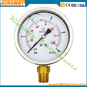 YN-60A -30ingh stainless steel case glycerine or silicone filled pressure gauge with brass bottom manometer