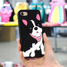 Custom Made Design Cell Phone Accessories Case 3D Cute Cartoon Animal Bulldog Puppy Smartphone Cases For Iphone 6 6S 7