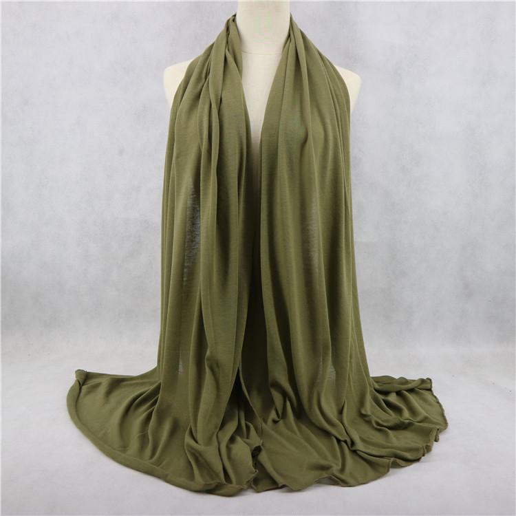 180*85Cm Big Size Long Hijab Stretch Shawl Wraps Women Scarves Solid Color Plain Jersey Scarf