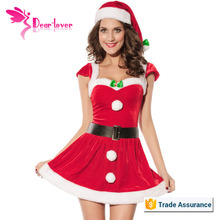 factory direct sell cheap christmas dance costumes with waistbelt and hat