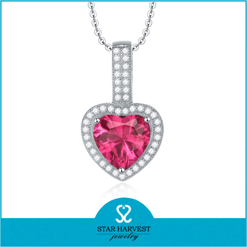 Heart shape red zircon stone necklace with pendant