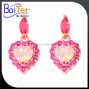 Fashion Rhodium Plated 925 Sterling Silver ruby Lab Created heart shape pink Fire Opal stud Earring For Lady