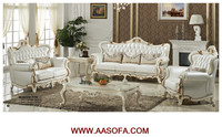 White leather round sofa deco paint furniture wood carving furniture
