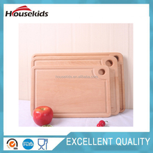 Solid beech wood cutting chopping board high range with drain tank hang hole wholesale non-painting