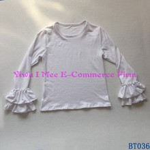 Wholesale Children's Boutique Clothing Little Girls White Long Sleeve Cotton Shirts with Double Ruffles BT036