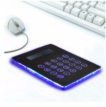 4 port usb hub mouse pad with blue led backlight and calculator