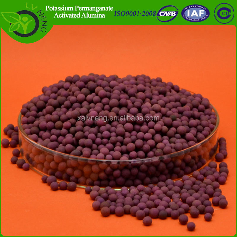 activated alumina impregnated with potassium permanganate, ethylene absorber for fruit and vegetables
