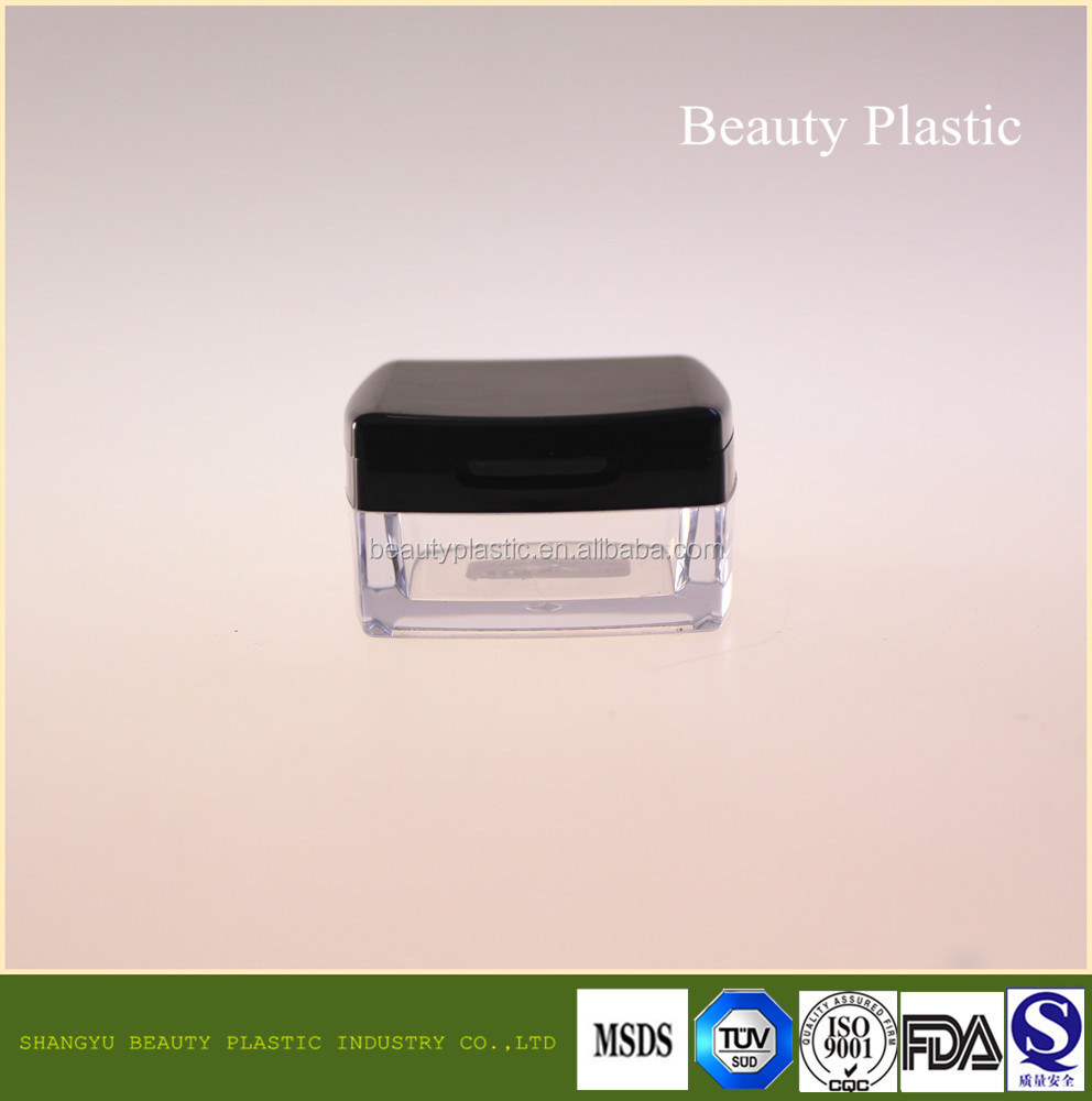 15g square acrylic jar Cosmetic sifter jar powder container