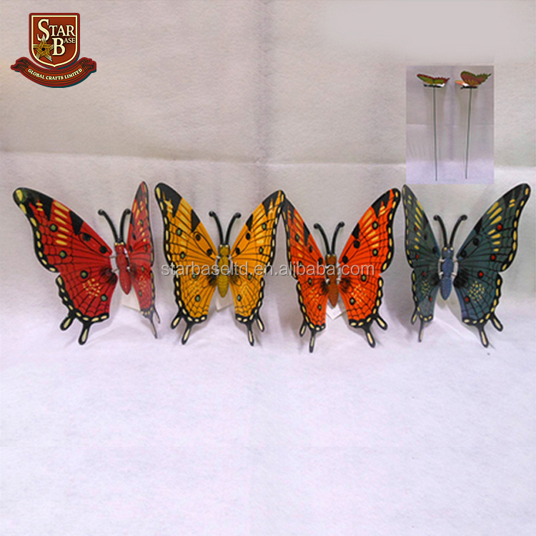 Cheap colorful metal butterfly wholesale garden decoration