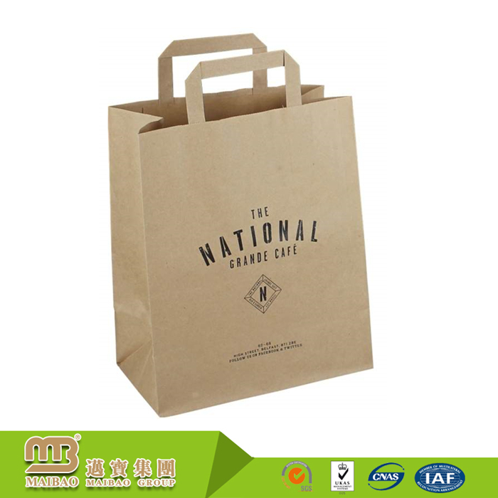Custom Printing Flat Handle Grocery Brown Kraft Craft Vietnam Paper Bag For Restaurant Food/Coffee Take-Away Packaging