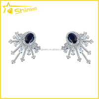 zircon earrings semi joias atacado 925 silver crystal stud earrings