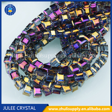 China Fashion Cube Glass Bead Crystal Cube Beads For Jewelry Accessory