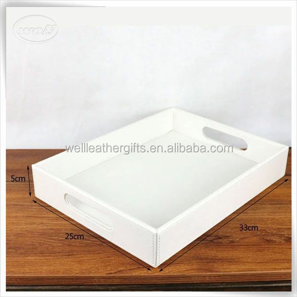 Unique luxury PU leather home hotel white serving tray