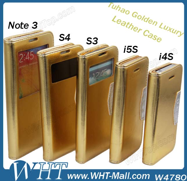 Hot Sale Gold Flip Leather Case for iPhone 5S 5,for iPhone 5S 5 Cover Case