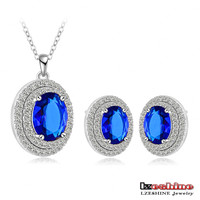 LZESHINE Luxury Royal Blue Sapphire Cubic Zirconia Neclace Earring Set Wedding Bridal Jewelry Set CST0028-B