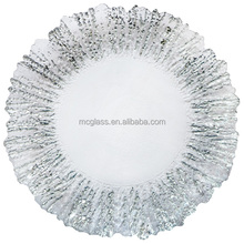 MC glassware beautiful clear colored wholesale wedding flora glass charger plates