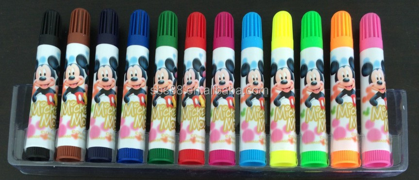 pvc bag packing 12 colors water color pen for kids