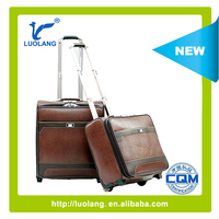 cheap fashion soft brown PU pilot trolley luggage/laptop trolley /leather bags
