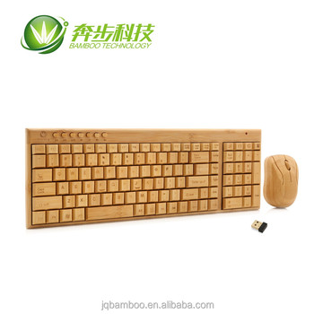 Hot usb bamboo for computer poreable wireless keyboard and mouse combo