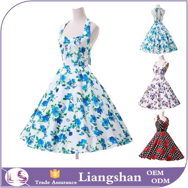 2016 Women top quality vintage dress 50s floral style retro dress