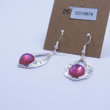 Latest design pink color indian silver gemstone pearl earrings