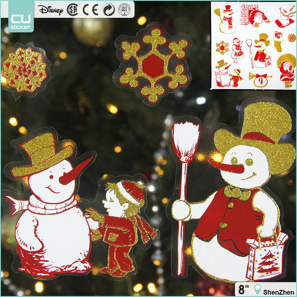 Christmas glitter static cling window sticker