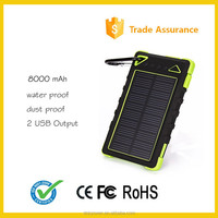 2016 new waterproof Portable Solar Power Bank charger manufacturer 8000mAh For mobile Phone