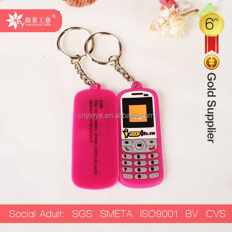 mobile phone cell phone soft pvc keychain pvc rubber key chain