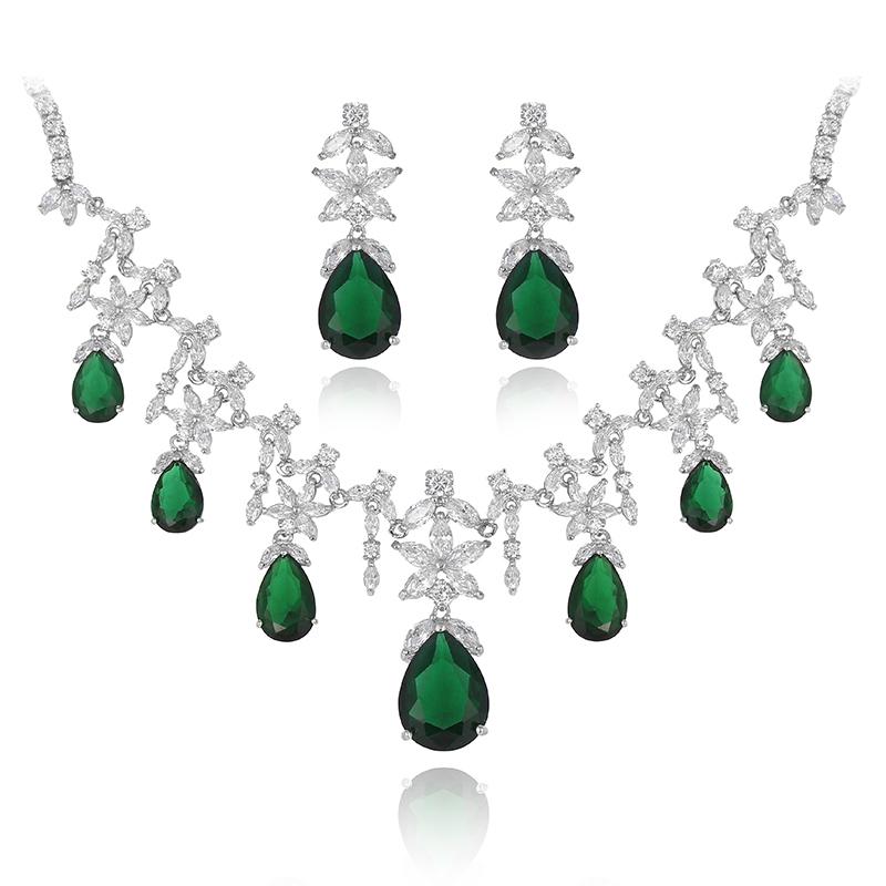 White Gold Strong Emerald Element Green Austrian Cz Crystal Teardrop
