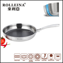 2017 Honeycomb frying wok pan, triply stainless steel 316 grill cookware, copper sautepan, 3/5ply happy call skillet frypan
