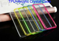 TPU Bumper +Acrylic Transparent Clear Hard Back Case Skin Cover for iphone 6 Plus 5.5 inch