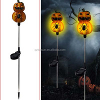 Halloween pumpkin ornament solar garden stake light for yard decoration