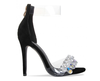 Party Shoes Luxury Black Suede Gem