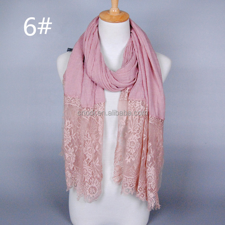 Women wholesale fashion pink lace new design hijab scarves