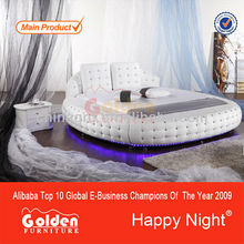 Luxury style super king size round bed frame with lights 6821
