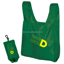 Deep Green color cute pouch foldable tote bag with snap closure