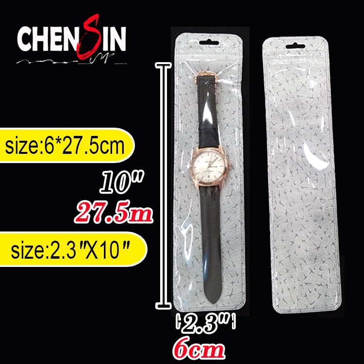 6*25.5cm simple narrow long clear plastic bopp bag Resealable ziploc bags with clear window for watch band