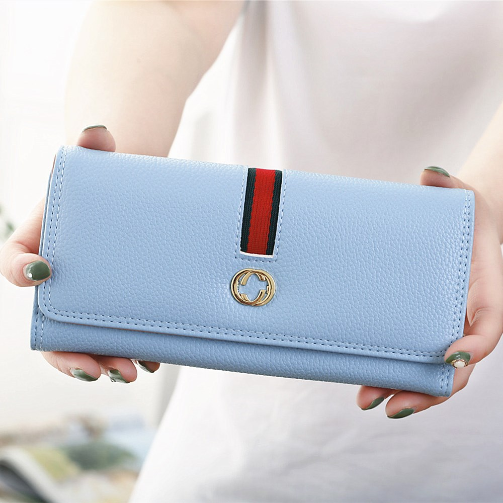 2017 new wallet long coin purse Korean version simple litchi pattern three fold high quality pu leather women wallet