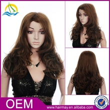 High quality dark brown lacefront wig european hair wig long synthetic wig