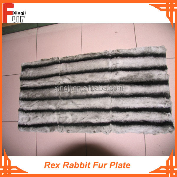 Rex Rabbit Fur Plate, dyed in Chinchilla Design